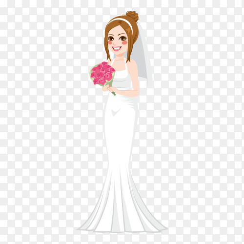 Bride in white dress with bouquet on transparent background PNG