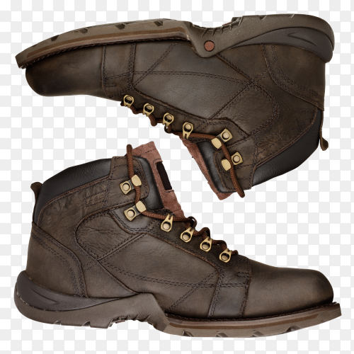 Brown boots on transparent background PNG