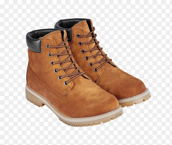 Brown leather safety boots on transparent background PNG