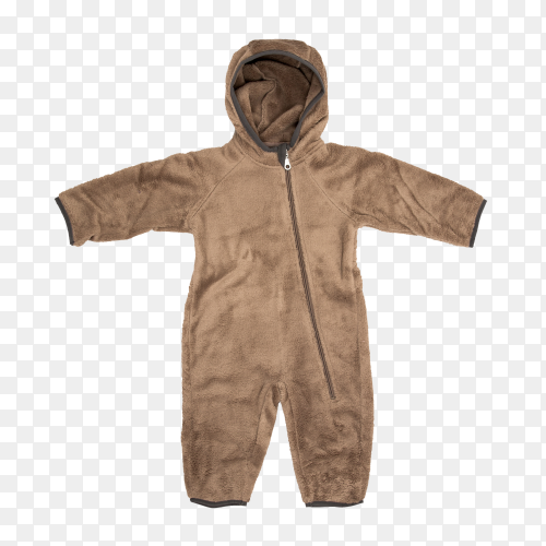 Brown warm sweater with trousers . Baby clothes for winter time on transparent background PNG