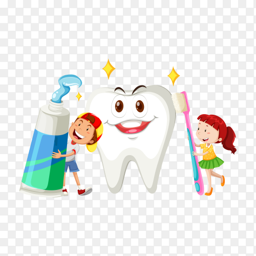 Brushing Teeth Concept With Cartoon Character on transparent background PNG