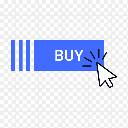 Buy button with hand pointer clicking on transparent background PNG