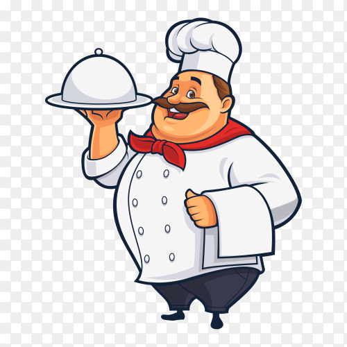 Cartoon Funny chef for culinary business and restaurant on transparent background PNG