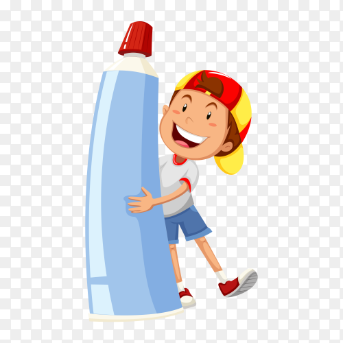 Cartoon boy holding toothpaste on transparent background PNG