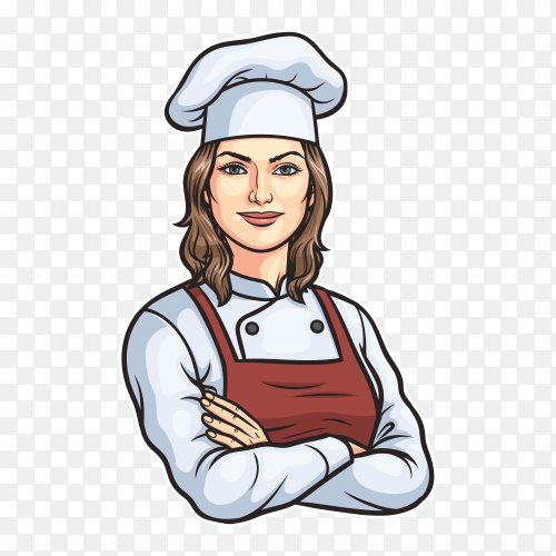 Cartoon female chef on transparent background PNG