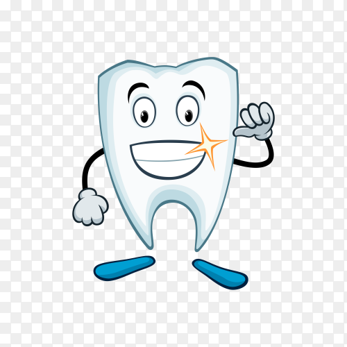 Cartoon funny tooth on transparent background PNG.png