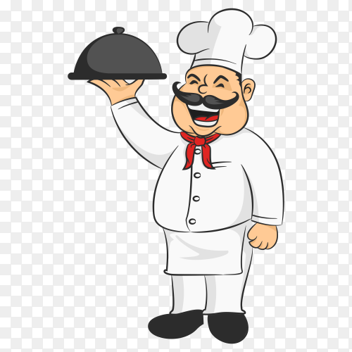 Cartoon restaurant logo chef illustration mascot design on transparent background PNG