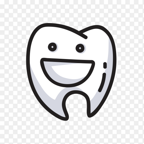 Cartoon smiling tooth character icon on transparent background PNG