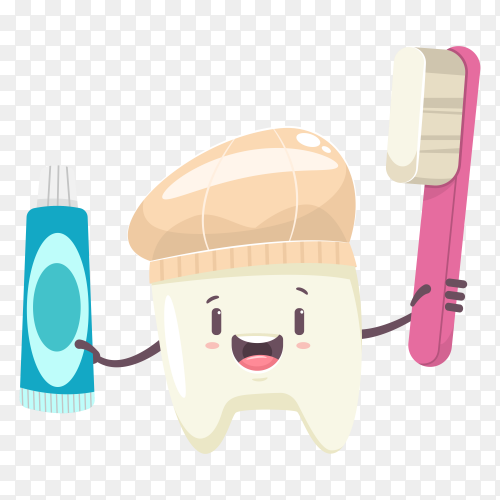 Cartoon tooth holding toothbrush and Toothpaste on transparent background PNG