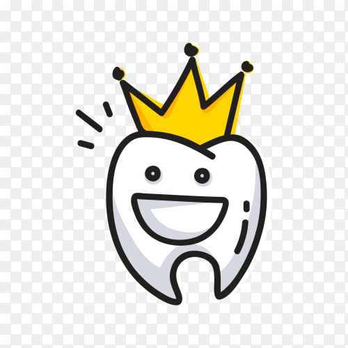 Cartoon tooth with crown on transparent background PNG