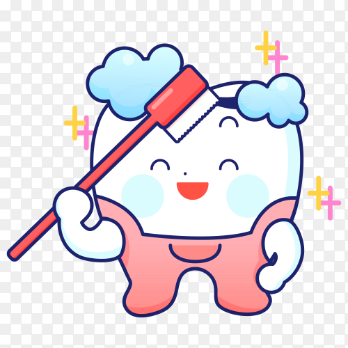 Cartoon tooth with tooth brush on transparent background PNG