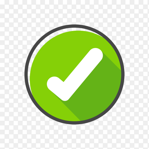 Check mark green tick isolated on transparent background PNG
