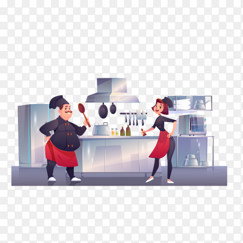Chef and sous chef on kitchen. restaurant staff on transparent background PNG