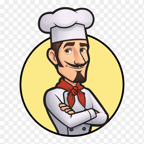 Chef cartoon character on transparent background PNG