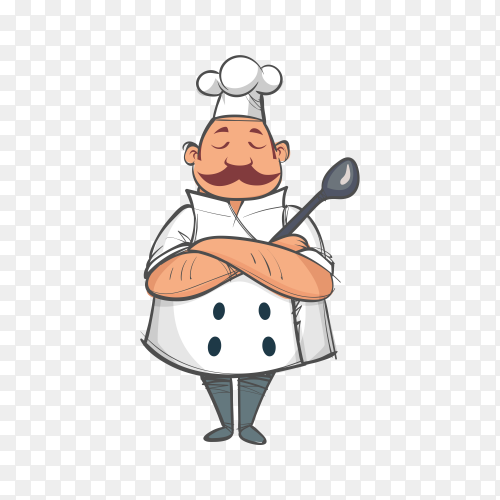 Chef character with crossed arms on transparent background PNG