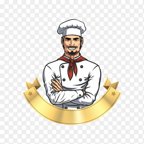 Chef logo design illustration on transparent PNG
