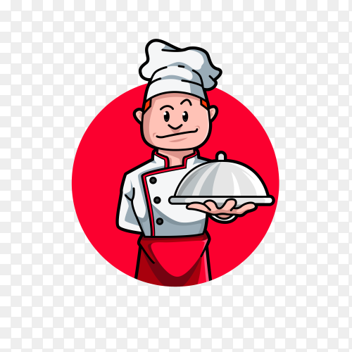 Chef logo design isolated on transparent background PNG