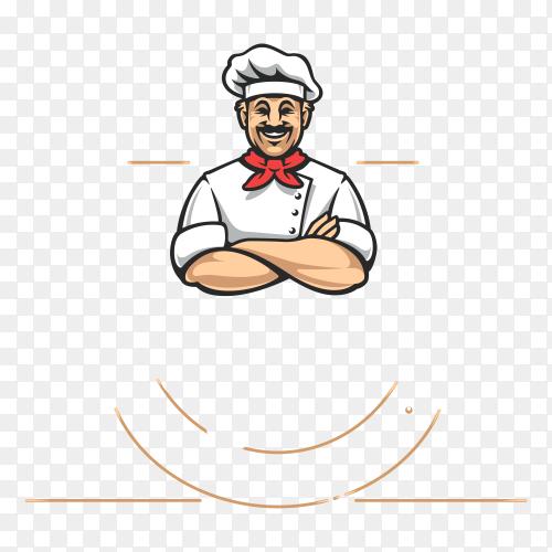 Chef logo design on transparent background PNG
