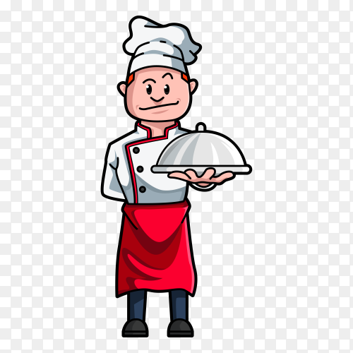Chef man character hold dish on transparent background PNG