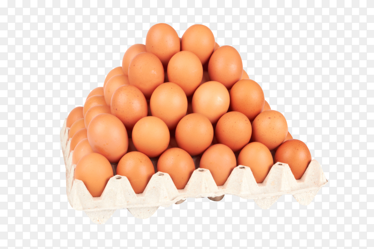 Chicken eggs are fresh in a cardboard package on transparent background PNG