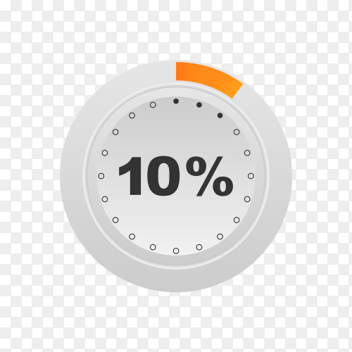 Circle percentage diagram showing 10% on transparent background PNG