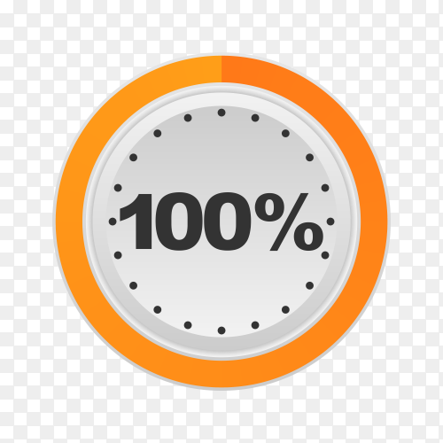 Circle percentage diagram showing 100% on transparent background PNG
