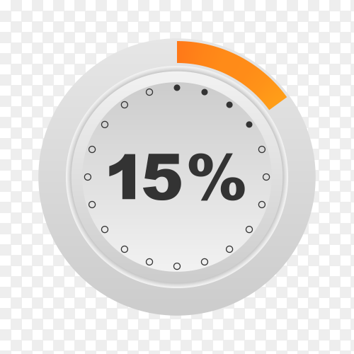 Circle percentage diagram showing 15% on transparent background PNG