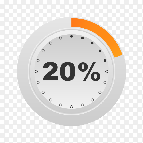 Circle percentage diagram showing 20% on transparent background PNG