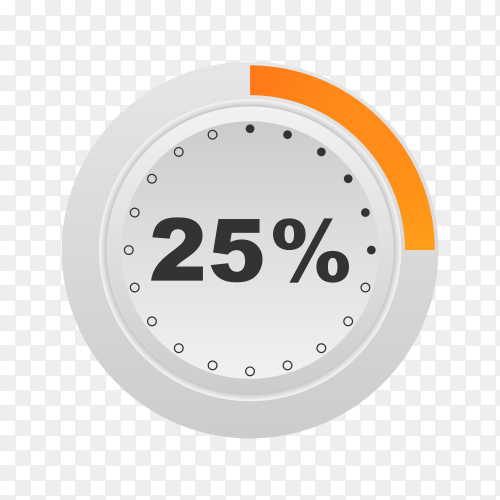 Circle percentage diagram showing 25% on transparent background PNG