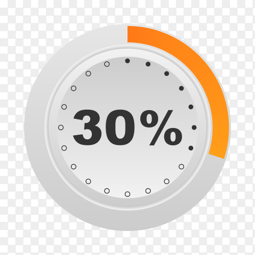 Circle percentage diagram showing 30% on transparent background PNG