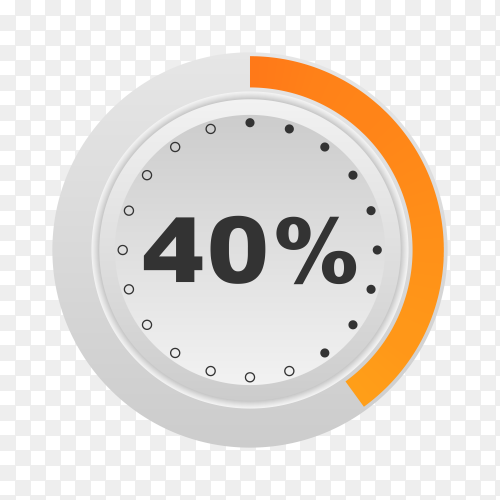 Circle percentage diagram showing 40% on transparent background PNG