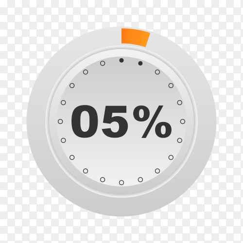 Circle percentage diagram showing 5% on transparent background PNG