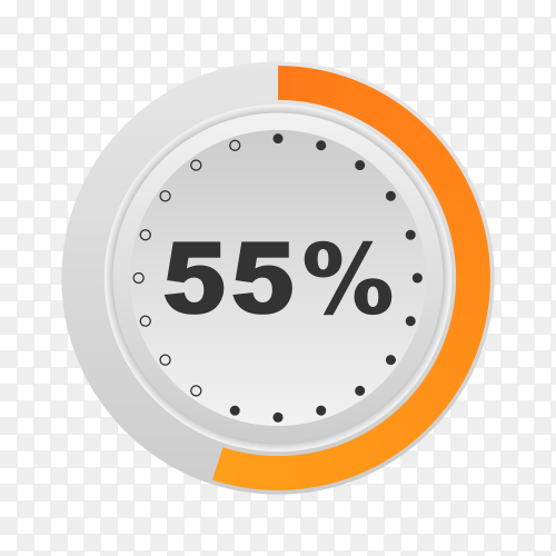 Circle percentage diagram showing 55% on transparent background PNG
