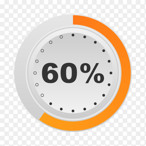 Circle percentage diagram showing 60% on transparent background PNG