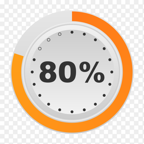 Circle percentage diagram showing 80% on transparent background PNG