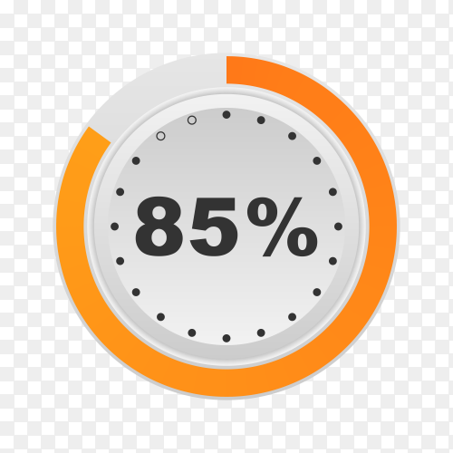 Circle percentage diagram showing 85% on transparent background PNG