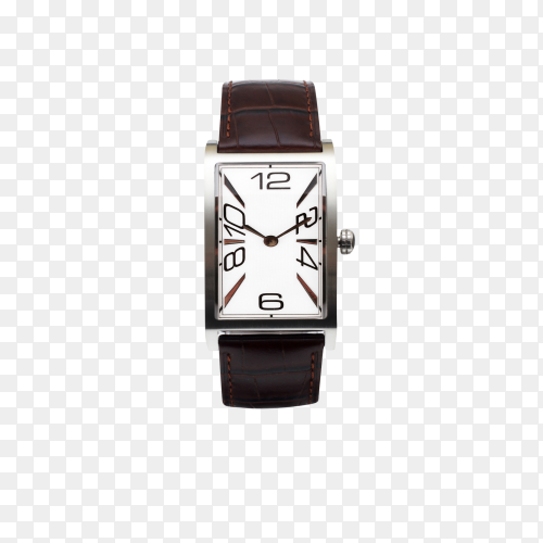 Classic Analog Men's Wrist Watch with leather belt wrist watch on transparent background PNG