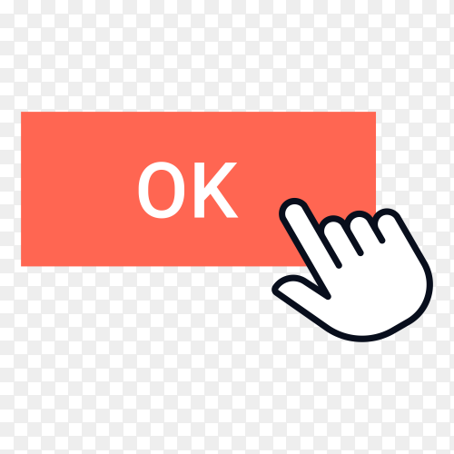 Click button. Cursor clicking, mouse arrow or hand pointer over button frame on transparent background PNG
