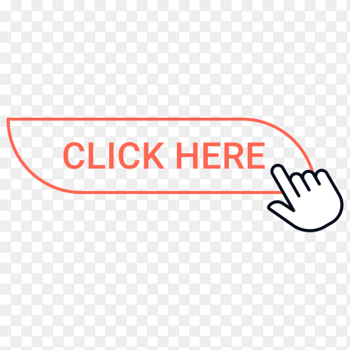 Click here button with hand mouse on transparent background PNG