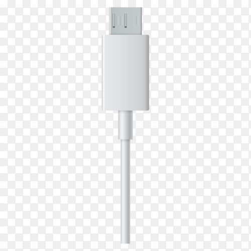 Close up white USB and micro USB cable plug isolated on transparent background PNG