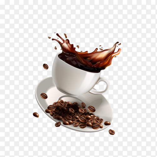 Coffee cup and coffee beans on transparent background PNG