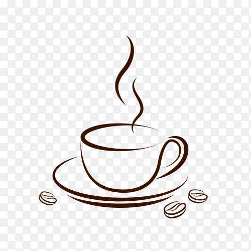 Coffee cup icon design template on transparent background PNG