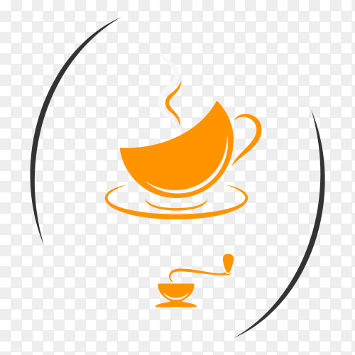 Coffee logo design isolated on transparent background PNG
