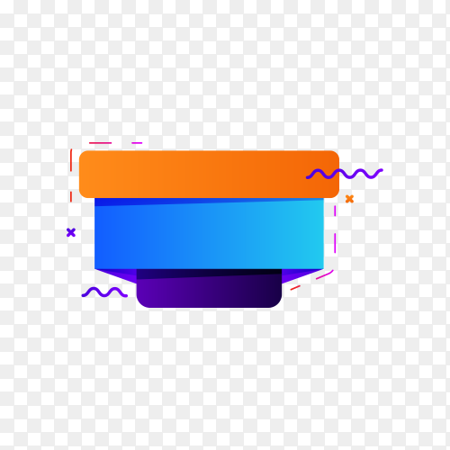 Colorful blank banner. abstract geometric shape on transparent PNG