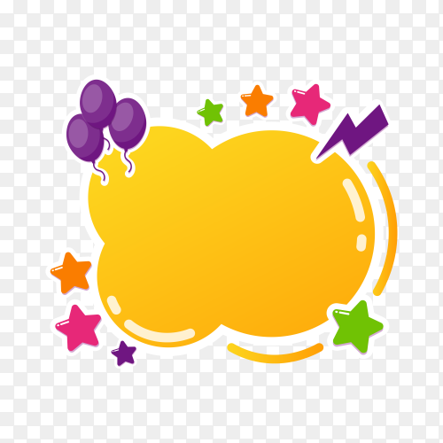 Colorful bubble for speech on transparent PNG