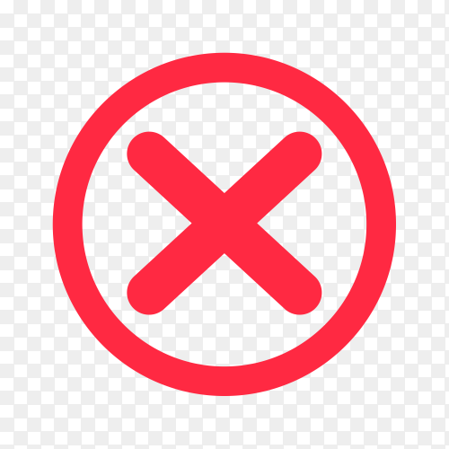 Cross mark icon in red color on transparent background PNG
