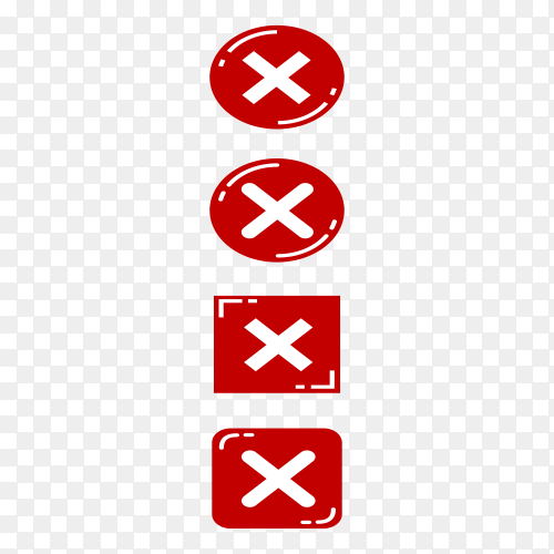 Cross marks icons isolated on transparent background PNG