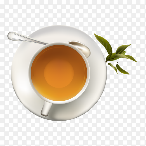 Cup of mint tea isolated on transparent background PNG