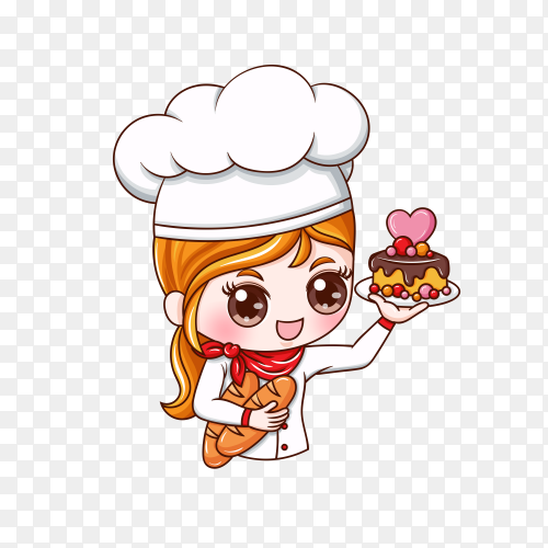 Cute bakery chef girl smiling in uniform on transparent background PNG