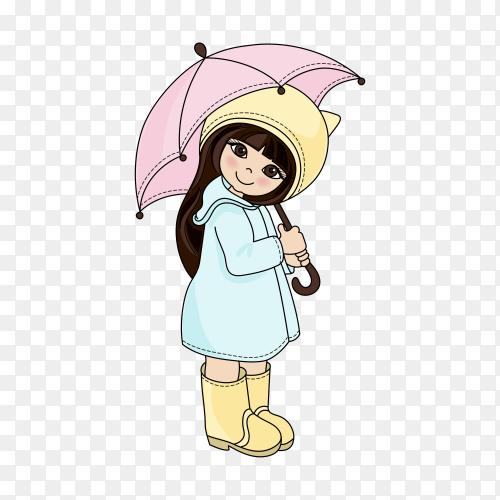 Cute cartoon girl on transparent background PNG